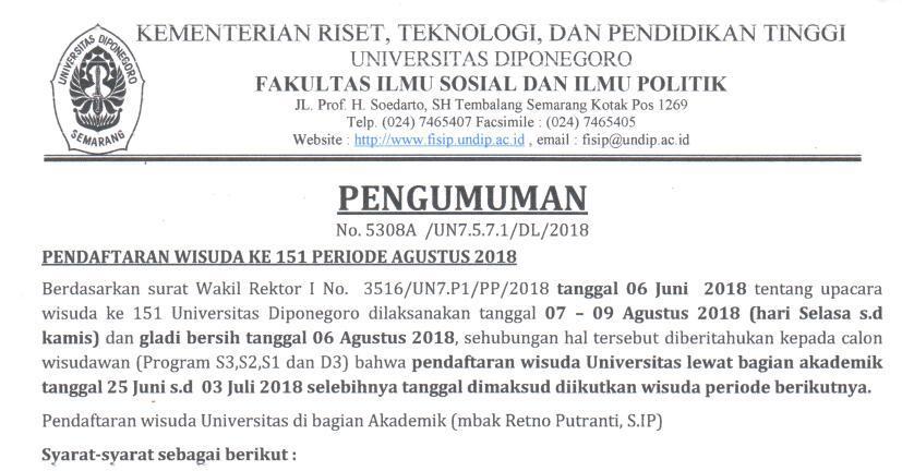 Pendaftaran Wisuda ke 151 Periode Agustus 2018
